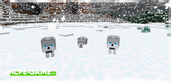 Морозный волк из мода Wolves+ для Minecraft
